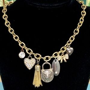 Charm Necklace Gold Silver Tone JL